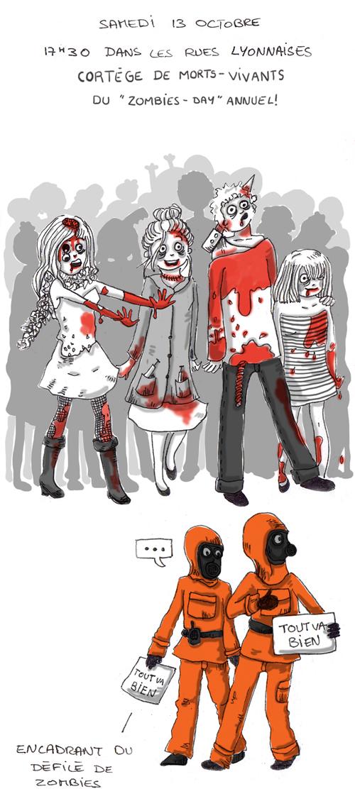 """Samedi 13 Octobre 17h30, dans les rues lyonnaises, la zombies pride déboule ! Et voici les rues envahit de morts vivants plus terrifiants les uns que les autres ! Défilé de zombie en ville il faut bien avouer que ce n'est pas commun. Un vrai """"walking dead""""..."""